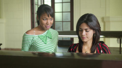 Female students studying and doing homework in college Stock Video Footage