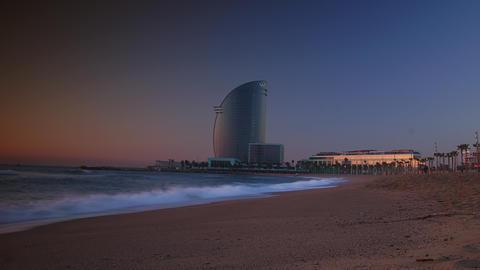 Barcelona, Spain. Barceloneta Beach - one of the m Stock Video Footage