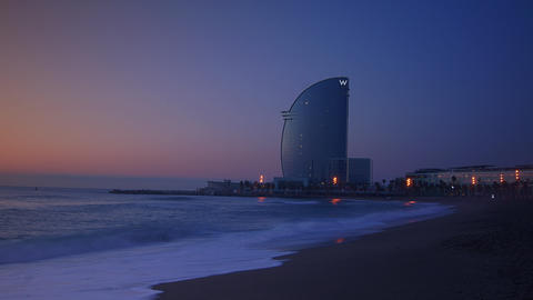 Barcelona, Spain. Barceloneta Beach - one of the m Stock Video Footage