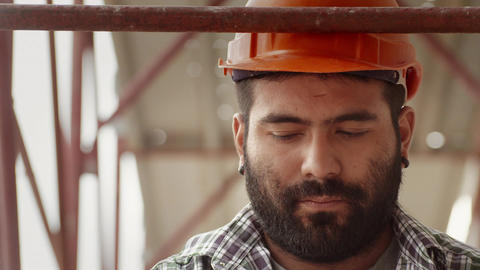 Portrait of construction worker at construction site Stock Video Footage
