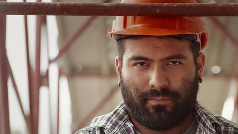 Portrait of construction worker at construction site Footage