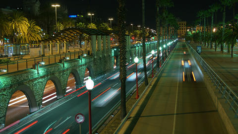 Urban scene of traffic on a major road at dusk in Stock Video Footage