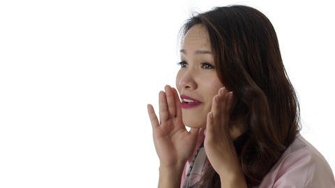 Asian Businesswoman Screaming on White Background Stock Video Footage
