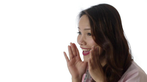 Asian Businesswoman Screaming on White Background Footage