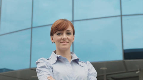 Portrait of Happy Businesswoman Smiling at Camera Stock Video Footage
