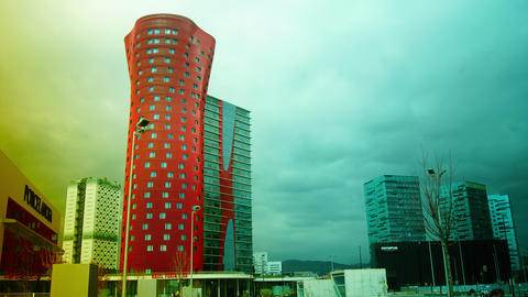 The Hotel Porta Fira Barcelona, red and shaped lik Stock Video Footage