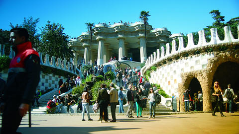 A timelapse shot in Parc Guell,Barcelona, Spain Footage