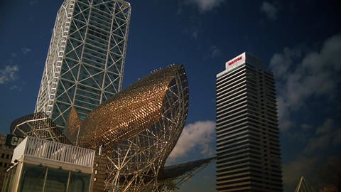 Peix sculpture in Port Olimpic in Barcelona, Spain Stock Video Footage