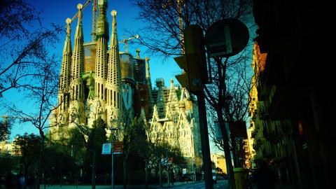 Cathedral Sagrada Familia famous church and landma Footage