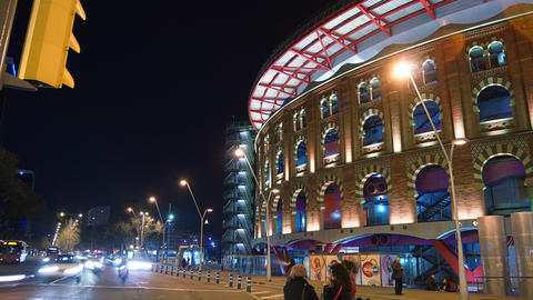 Arenas de Barcelona,The old bullring, built in 190 Stock Video Footage