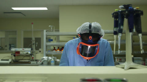 Medical Facility and Pharmaceutical Laboratory with woman... Stock Video Footage