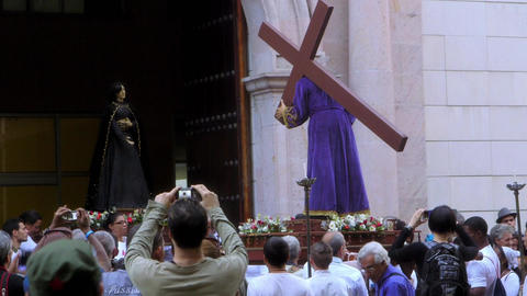 Christian Religious Procession For Easter in La Ha Stock Video Footage