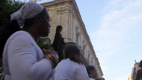 Religious Procession For Easter with Statue of Mar Stock Video Footage
