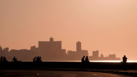 Skyline in La Habana Cuba at Sunset Viewed From The malecon Stock Video Footage