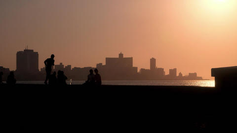 Skyline in La Habana Cuba at Sunset Viewed From The malecon Footage
