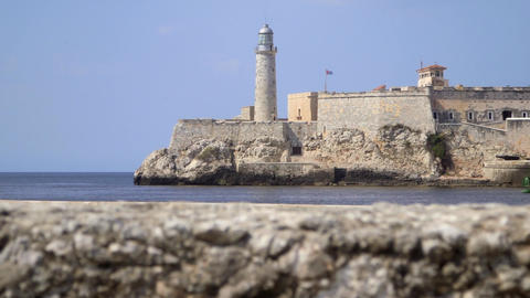 View of Lighthouse and Castle in Havana Cuba Footage