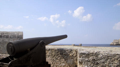 View of Lighthouse and Castle in Havana Cuba Stock Video Footage