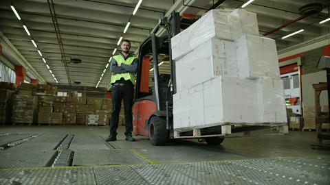 People Working In Warehouse stock footage