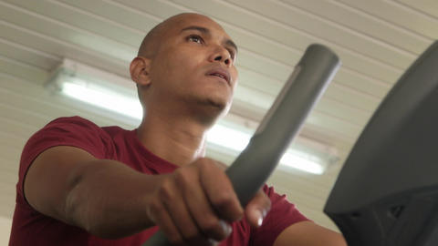 Men Exercising in Gym Adult Hispanic Man Training Footage
