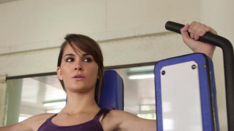 Women Working Out Sports and Wellness in Gym Beautiful girl Stock Video Footage