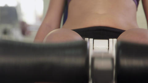 Young People and Fitness Beautiful Girl Training In gym Stock Video Footage