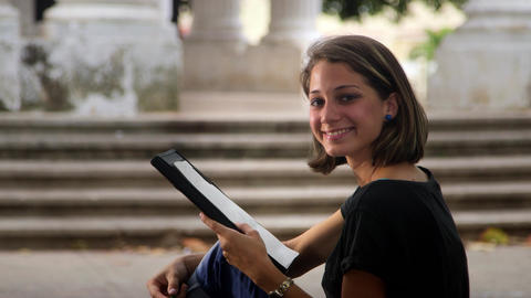 Education And Students Portrait Of Happy Young Wom stock footage