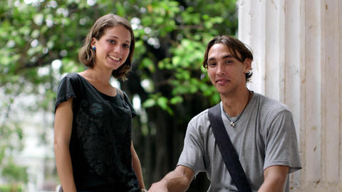 Portrait of Young People at School Two Happy College students Footage