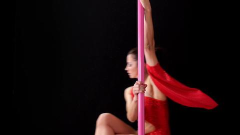 Beautiful Woman Doing Pole Dance Lap Dance Stock Video Footage