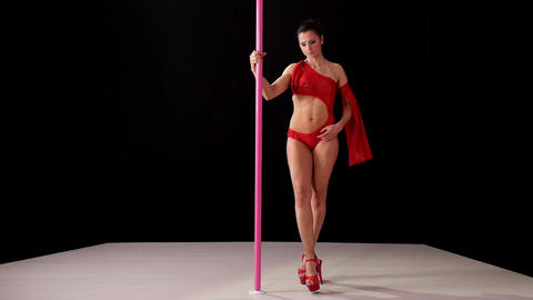 Beautiful Woman Doing Pole Dance Footage