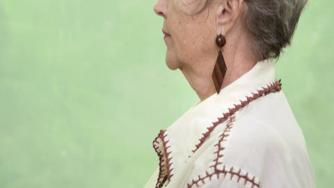 Portrait of Old Caucasian Lady Looking and Smiling Stock Video Footage