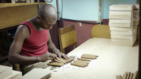 Young Black Man Working in Cigar Factory in Havana Stock Video Footage