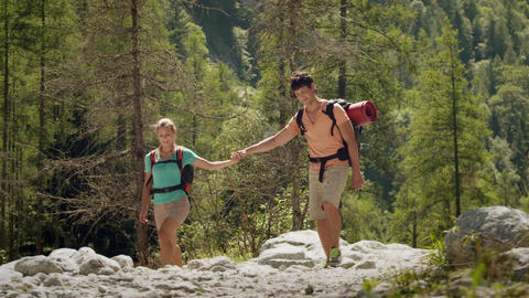 Young People Hiking and Trekking on Mountain Footage