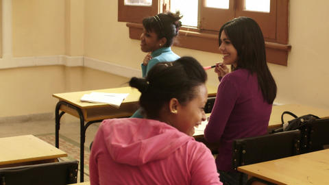 Young People and Education Group of Female Student Stock Video Footage