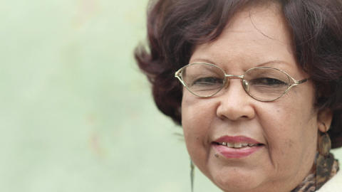 Elderly Black Lady with Eyeglasses Smiling Stock Video Footage
