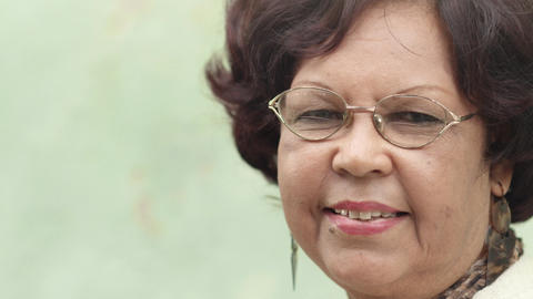 Elderly Black Lady With Eyeglasses Smiling stock footage