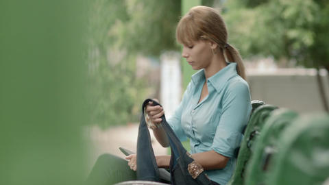 Young Woman Checking Emails on Digital Tablet Comp Stock Video Footage