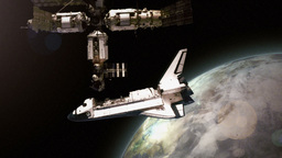 Shuttle Docks with Station Stock Video Footage