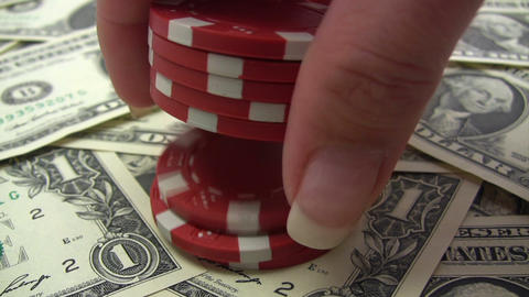 Stack of Red Poker Chips Stock Video Footage