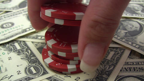 Stack of Red Poker Chips Footage
