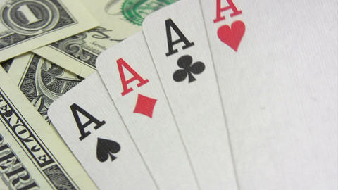 Four Aces on Dollars Stock Video Footage