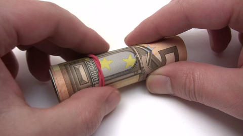Roll of Euro Banknotes Footage