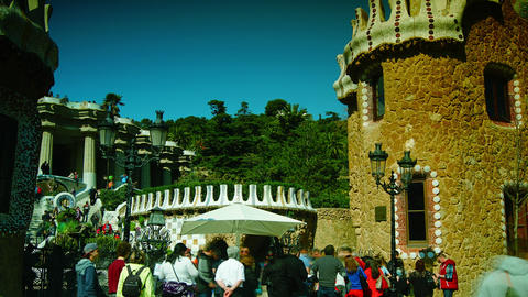 A Timelapse Shot In Parc Guell,Barcelona, Spain stock footage