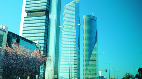 Four Towers Business Area in Madrid, Spain Stock Video Footage