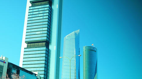 Four Towers Business Area in Madrid, Spain Footage
