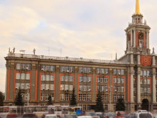 City Hall. Ekaterinburg, Russia. Time Lapse. 320x2 Stock Video Footage