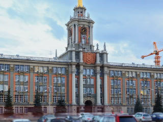 City Hall. Ekaterinburg, Russia. Time Lapse. 320x2 Footage