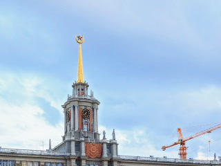 Tower City Hall. Ekaterinburg, Russia. Time Lapse. Footage