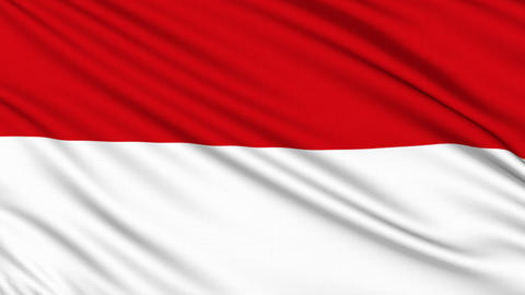 Indonesia flag, with real structure of a fabric, Stock Animation