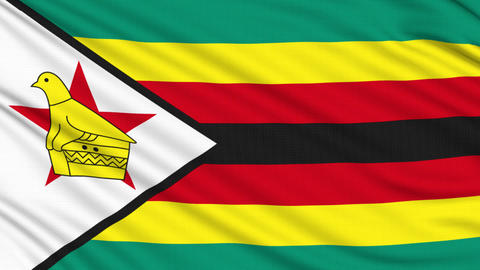 Zimbabwe flag, with real structure of a fabric Animation