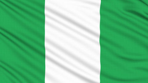 Nigeria flag, with real structure of a fabric Animation